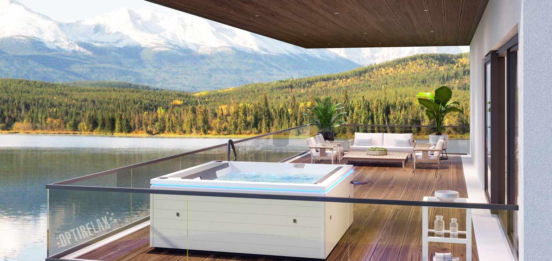 Whirlpool aussen auf der Terrasse im Winter OPTIRELAX Design Line Whirlpool