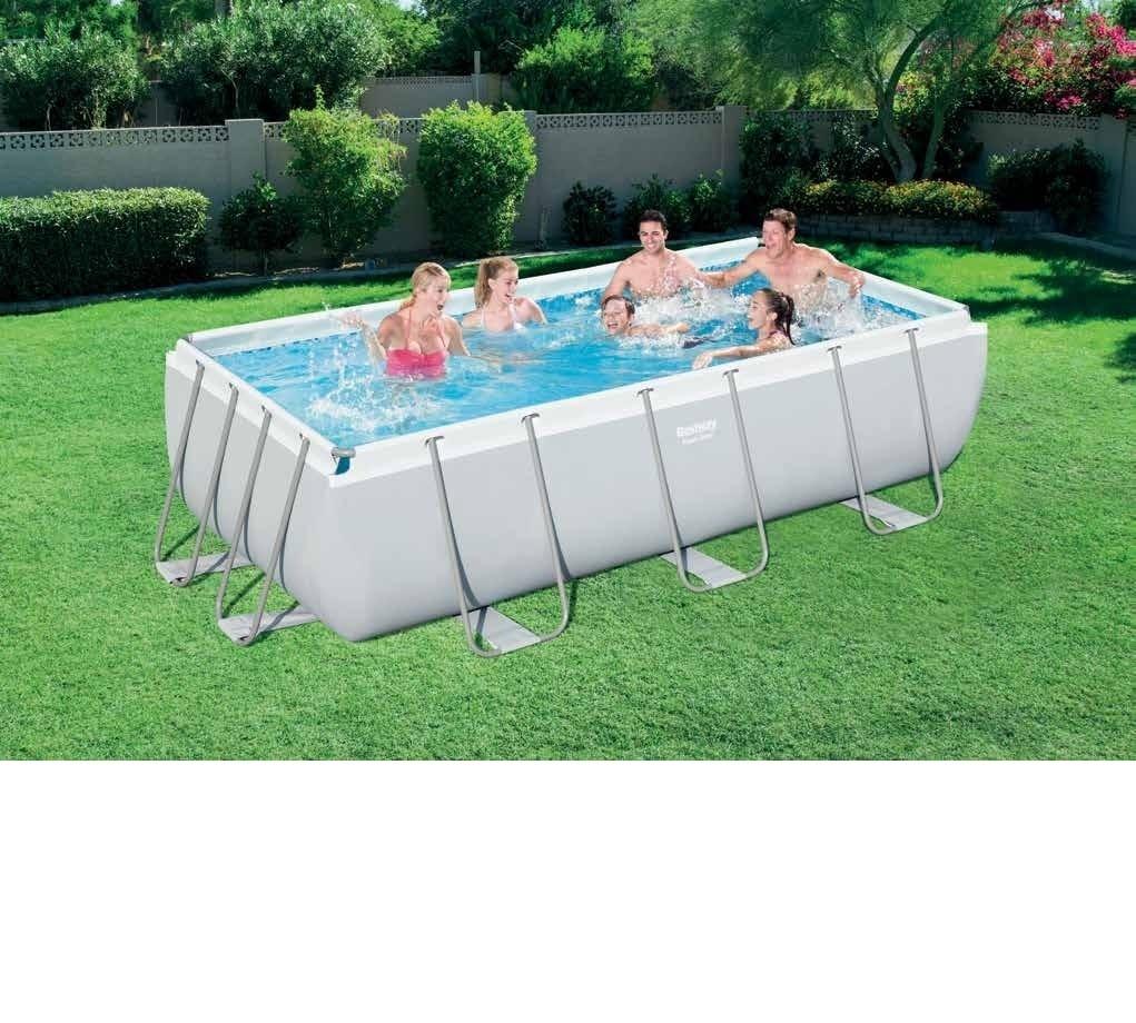 Bestway 404 201 100 cm Rechteckigen Super Starke Stahlrohr Framing Pool Oberirdische Schwimmbecken mit Sand