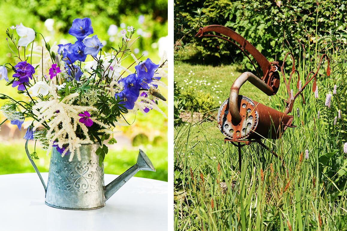 04 gartendeko selber machen DIY metallkanne gefaess pflanztoepfe metallschrott skulptur rost patina