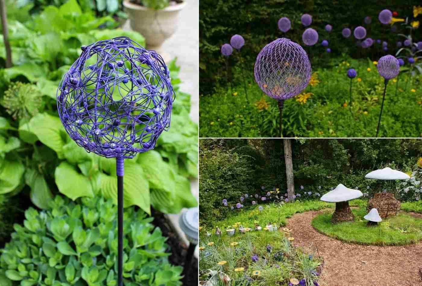 Aus Draht Gartenstecker basteln und lackieren Die Deko erinnert an Allium