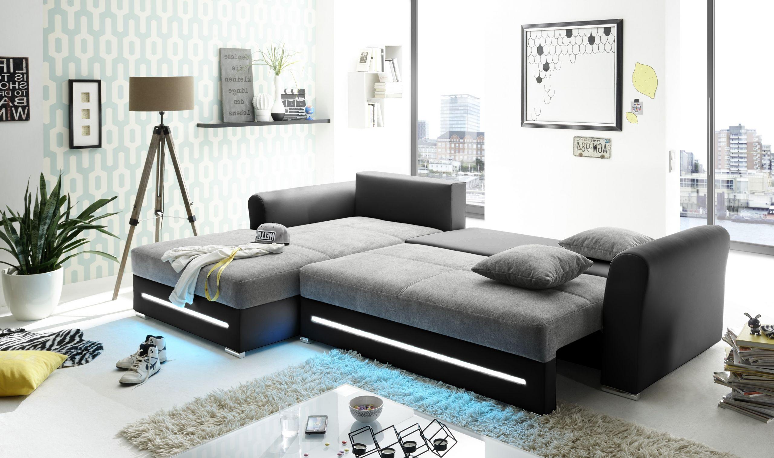 ecksofa kent couch schlafcouch bettsofa schlafsofa sofabett funktionssofa ausziehbar beleuchtung schwarz schlamm grau l form links
