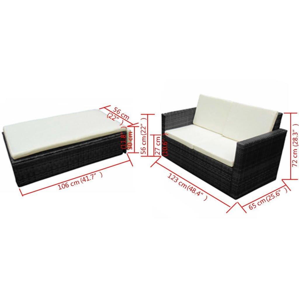 Gartensofa 3 Sitzer Einzigartig Festnight Rattan Lounge Set Polyrattan Loungemöbel Loungeset
