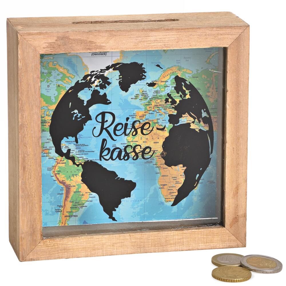 Spardose Geld Rahmen Holz Einwurfschlitz Geldgeschenk Reisekasse 15x15cm