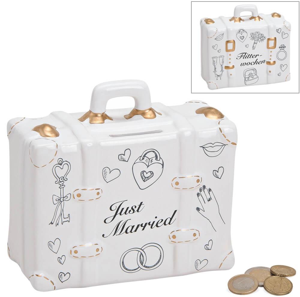 Spardose Koffer Hochzeit Hochzeitsgeschenk Geldgeschenk Sparbuechse Keramik 14 cm