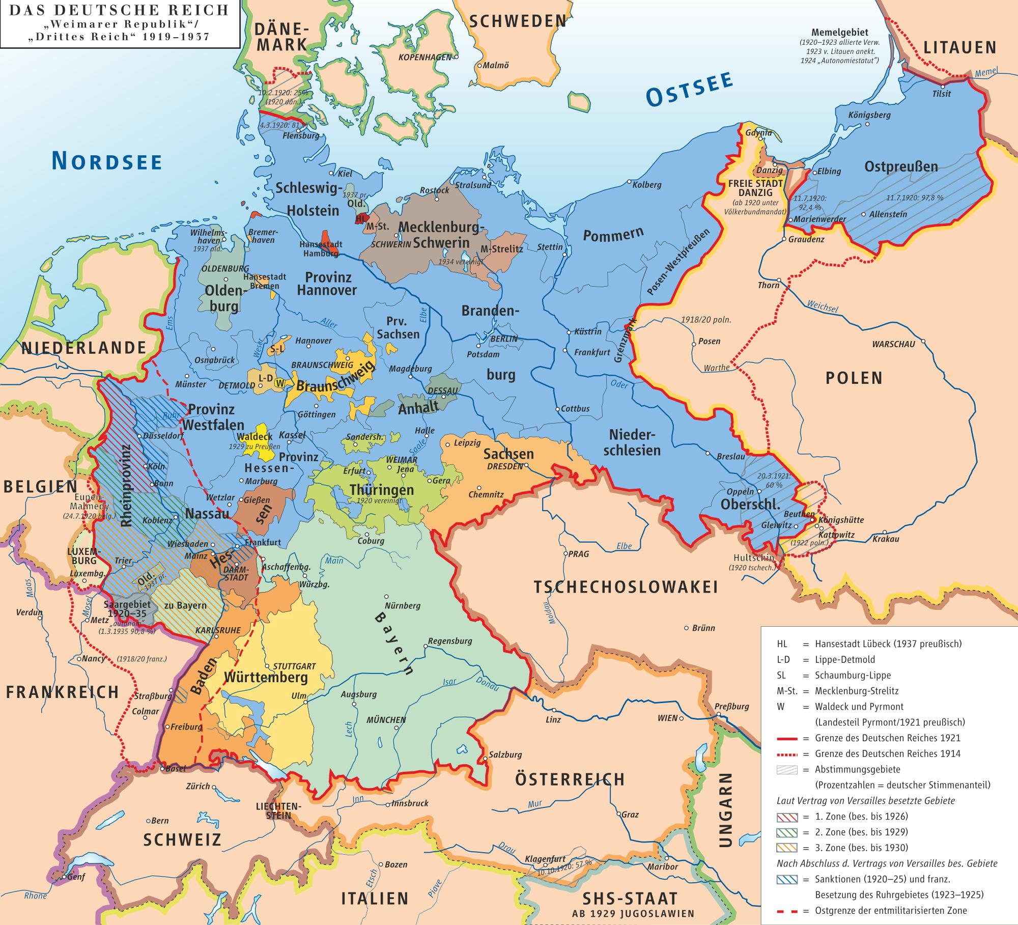 2000px Karte des Deutschen Reiches Weimarer Republik Drittes Reich 1919?% g