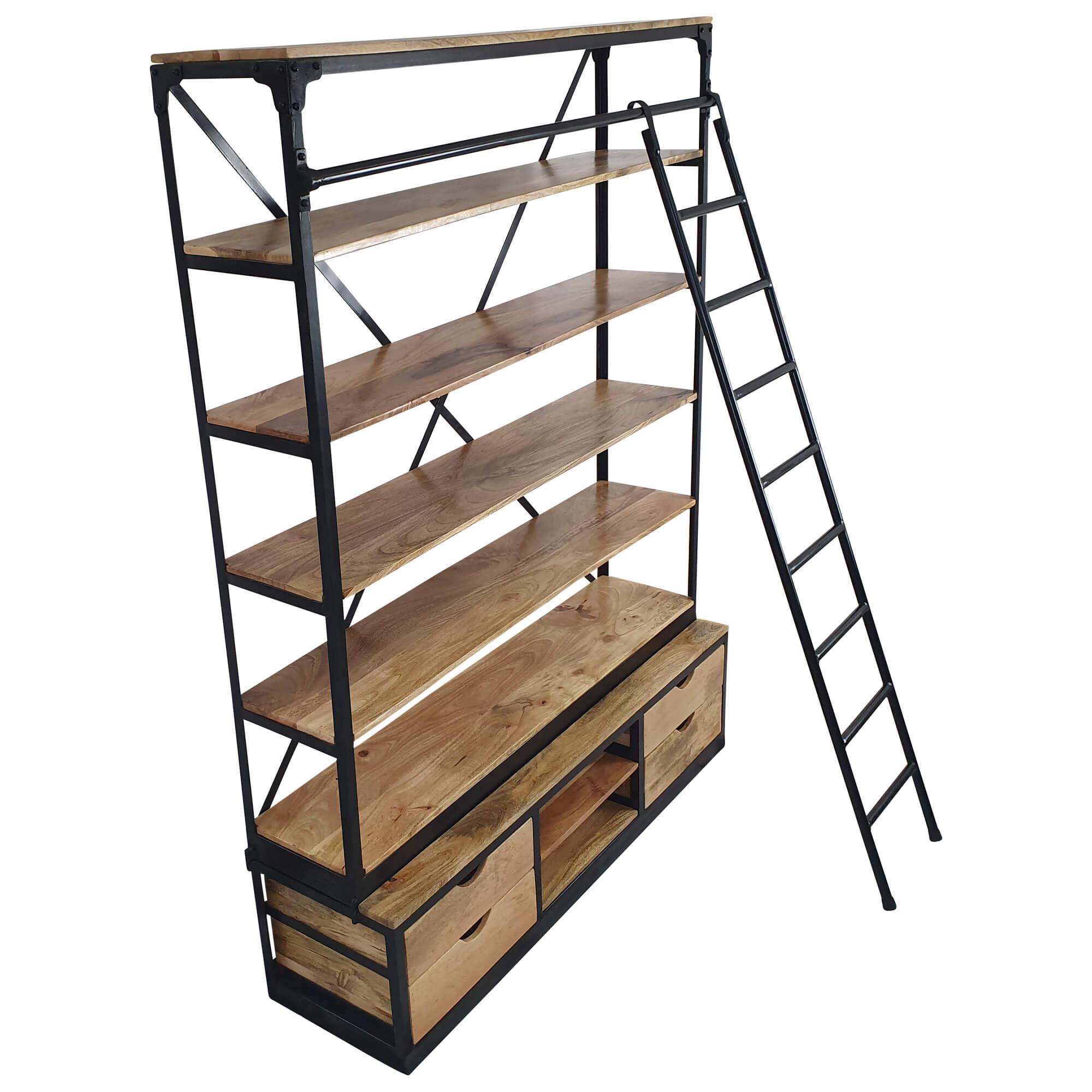 Buecherregal Holz Regal mit Leiter 150 x 200 cm Metall schwarz Industrial Design 3