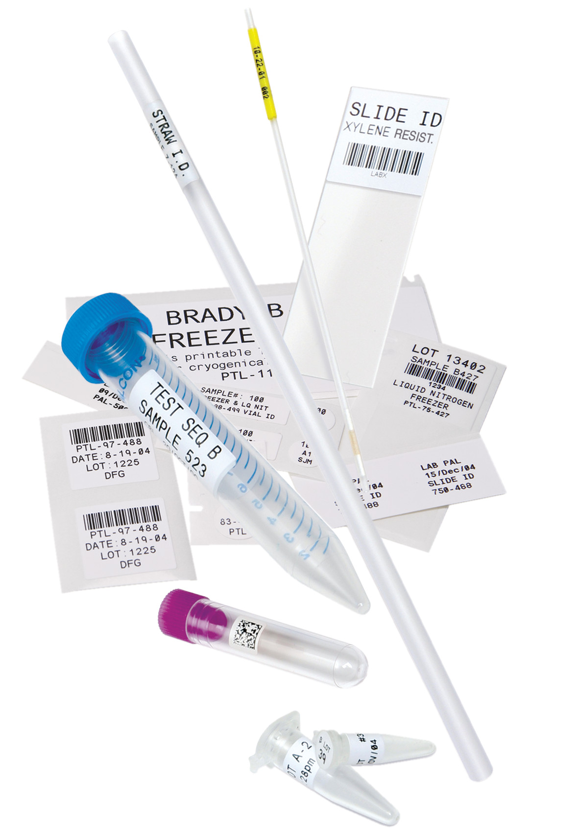Lab vials and labels