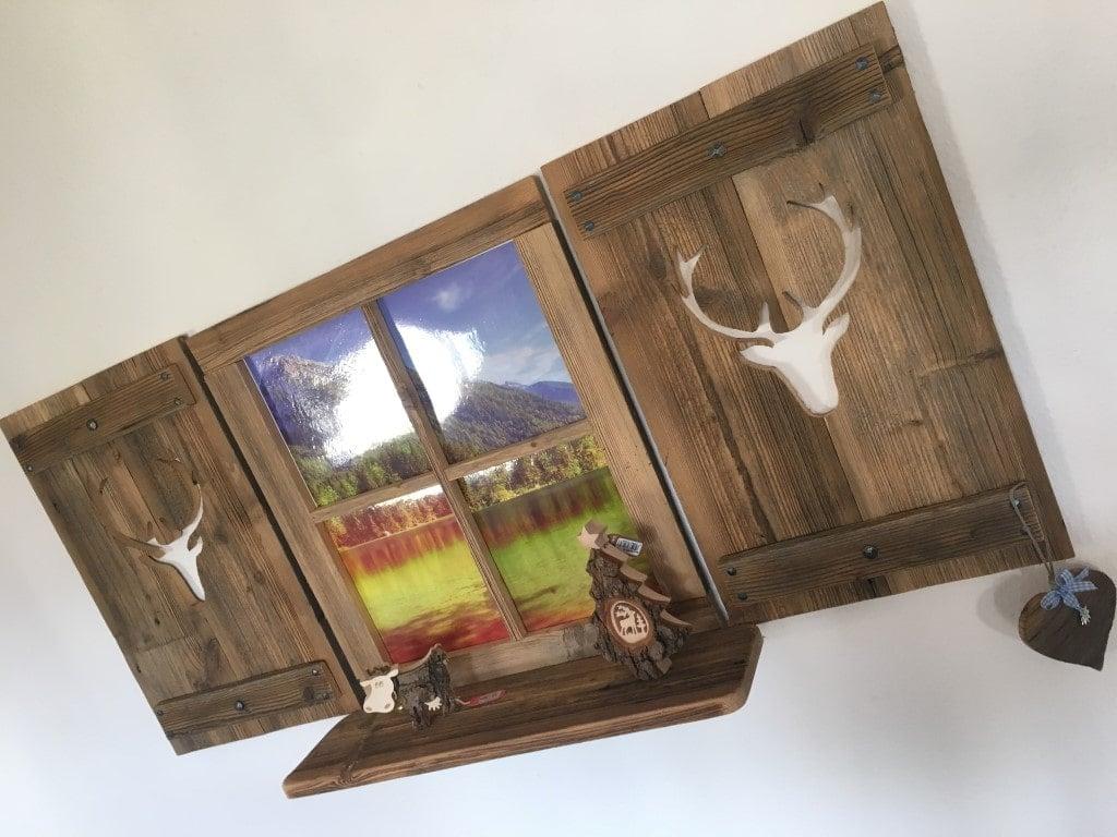 altholz deko fensterladen hirsch mit sprossenfenster set 4