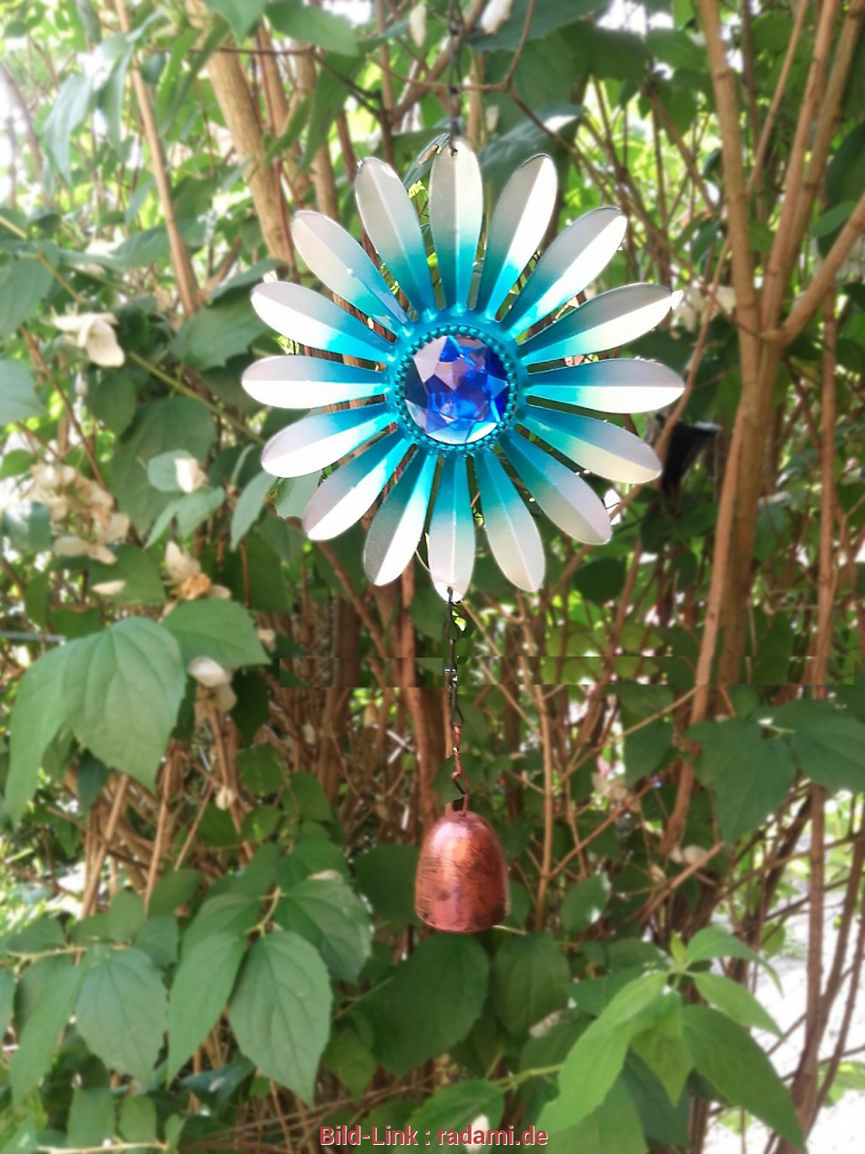 windspiel garten windspiel garten dekoration gartendekoration blume m glocke blau 15