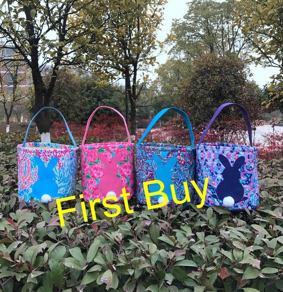 30pcs lot wholesale lily pulitzer easter basket good quality canvas 4 colors font b mixed b