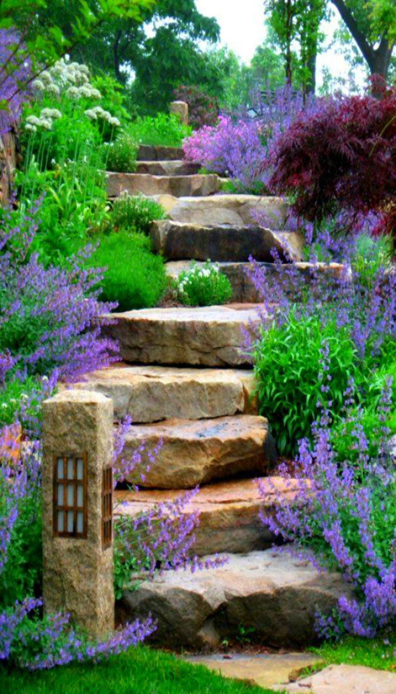 Natursteintreppe Garten Elegant Naturstein Treppe Blumensaum Mit Bildern