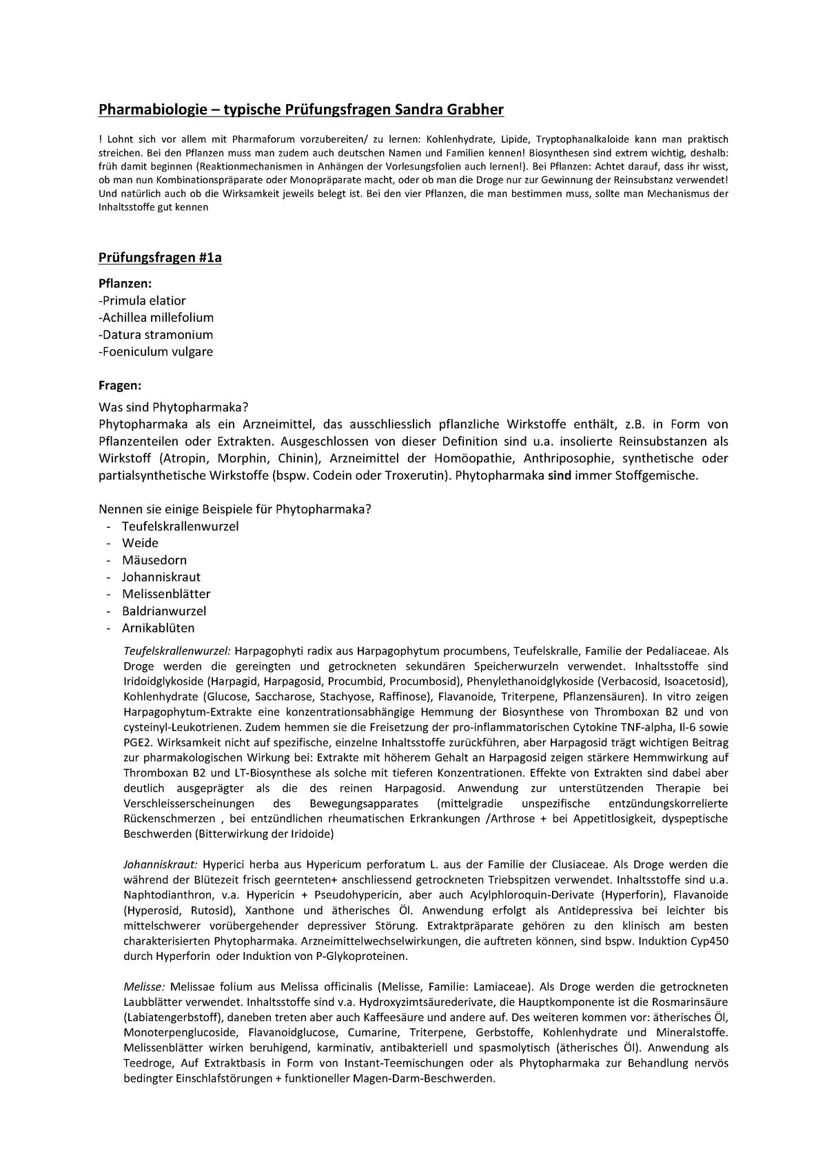 Pflanze Mit G Schön Pharmabio Vorlesungsnotizen 1 11 Pharmaceutical Biology