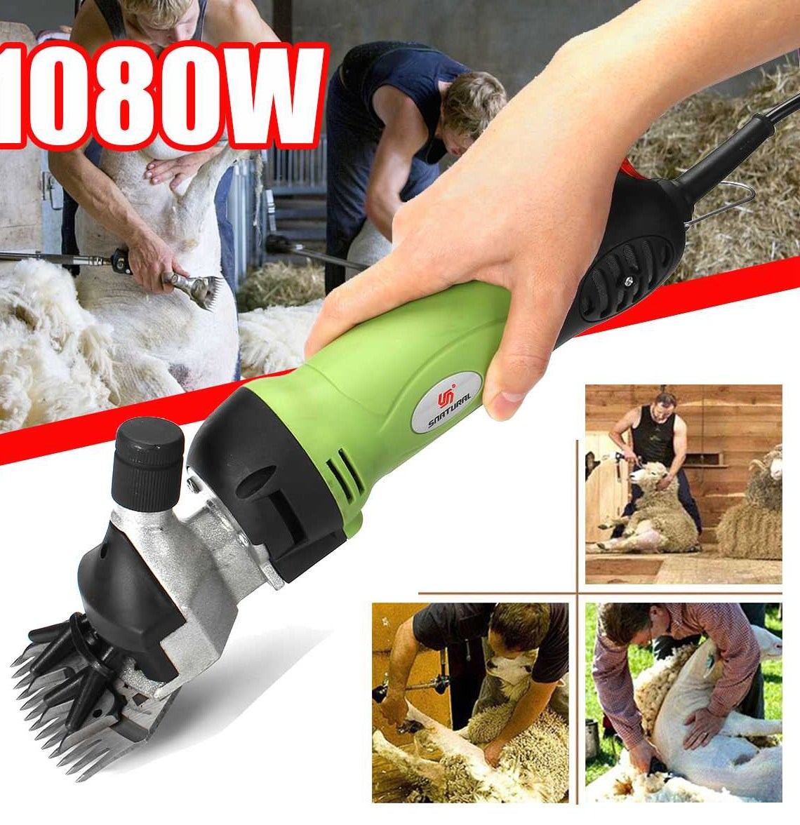 1080W Electric Shearing Clipper Shear Sheep Goats Alpaca Shears Animal font b Hair b font Shearing