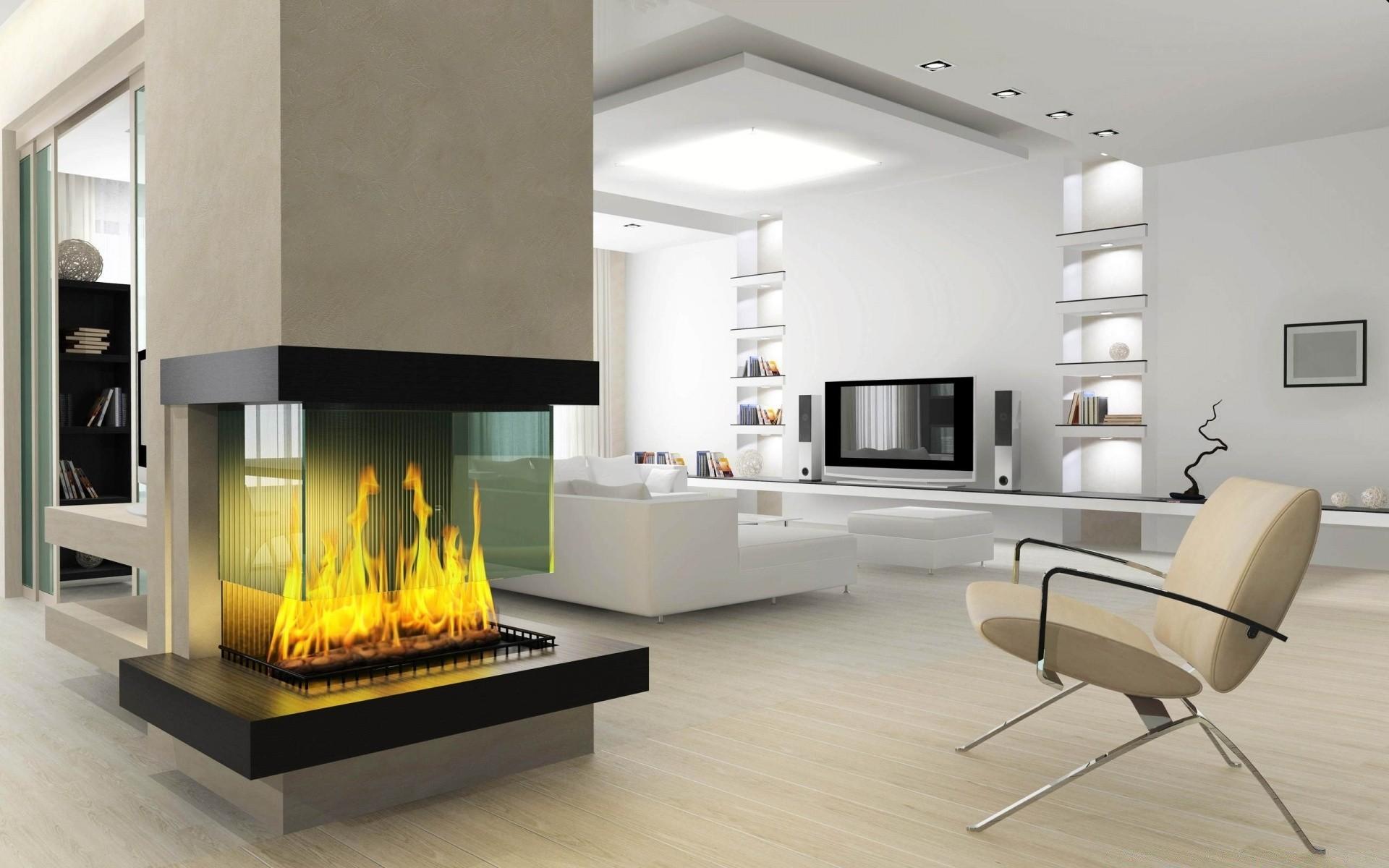 minimalist fireplace 3d