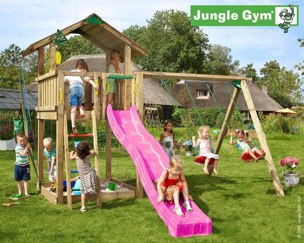 spielturm chalet jungle gym anbauschaukel 2 teilig pvc brettschaukel sprossenaufgang steuerrad bucket modul telefon bowi