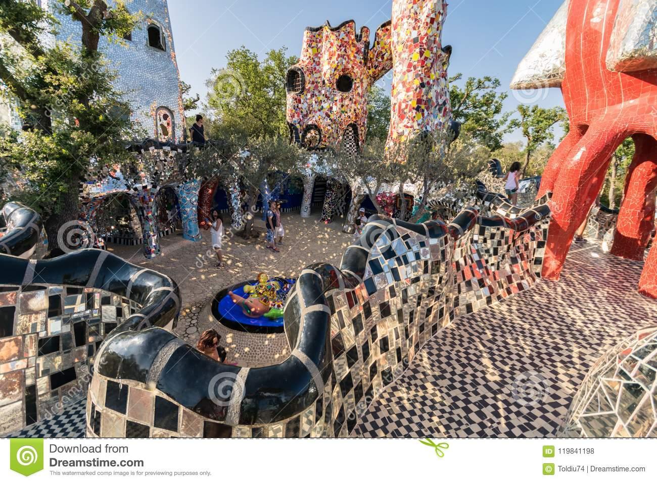 tarot garden sculpture based esoteric tar pescia fiorentina italy june created french artist niki de saint phalle