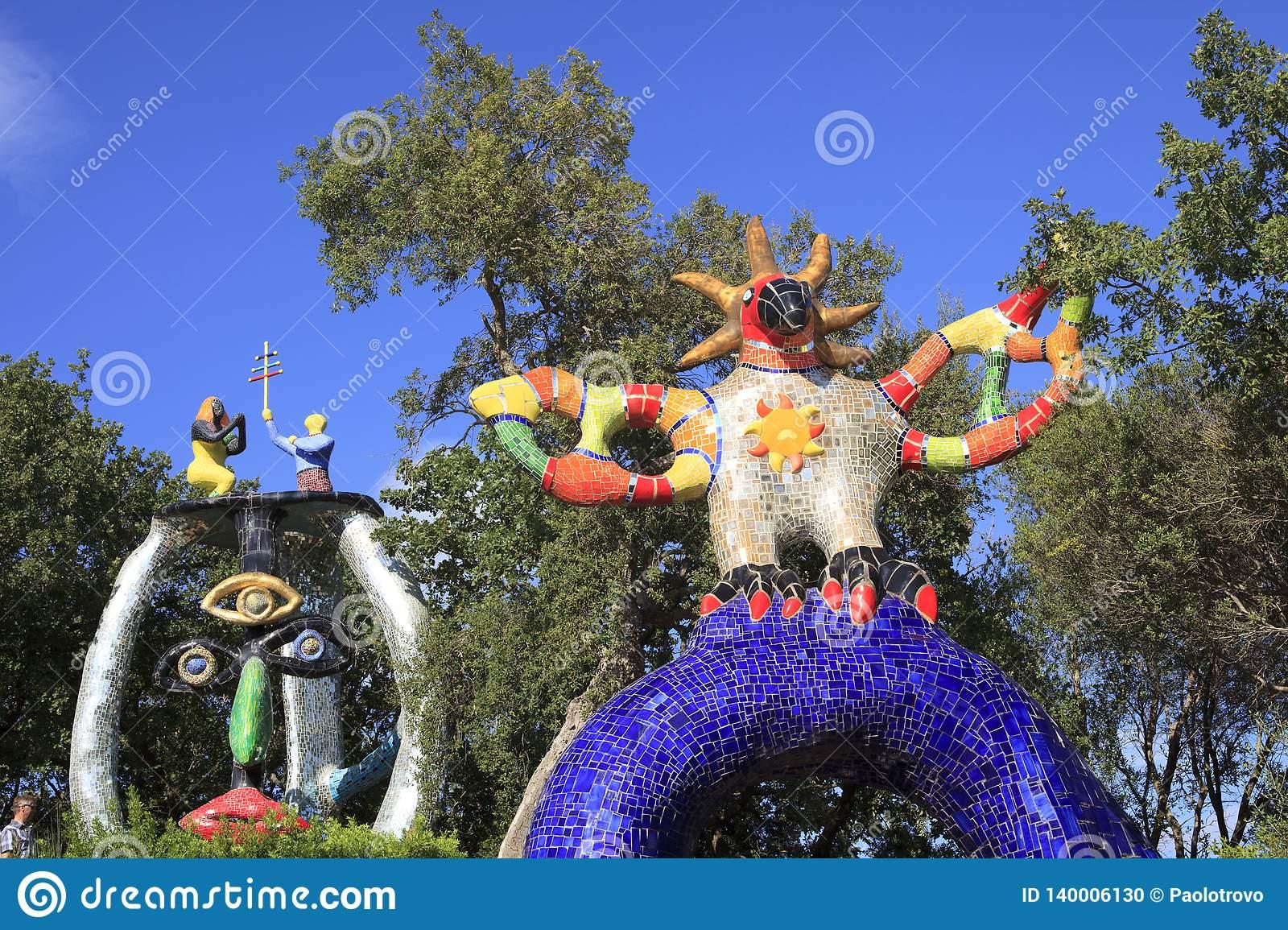 toscana capalbio gr italy september sun hierophant statue garden tarot giardino dei tarocchi garavicchio