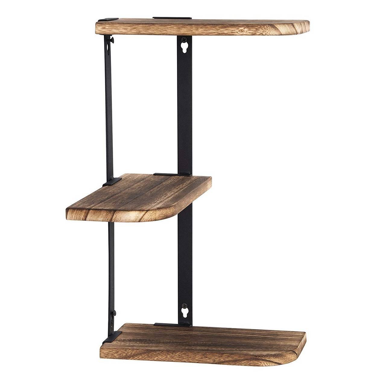 Wandregal Eckregal aus Holz und Metall1