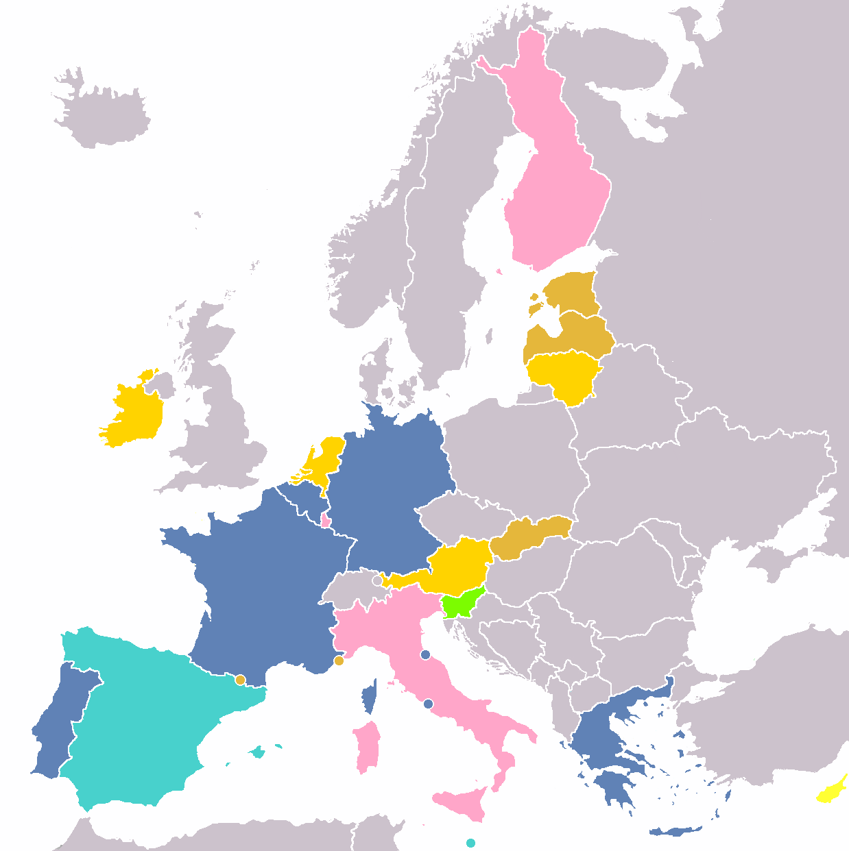 European Union memorative 2 euro coins by number