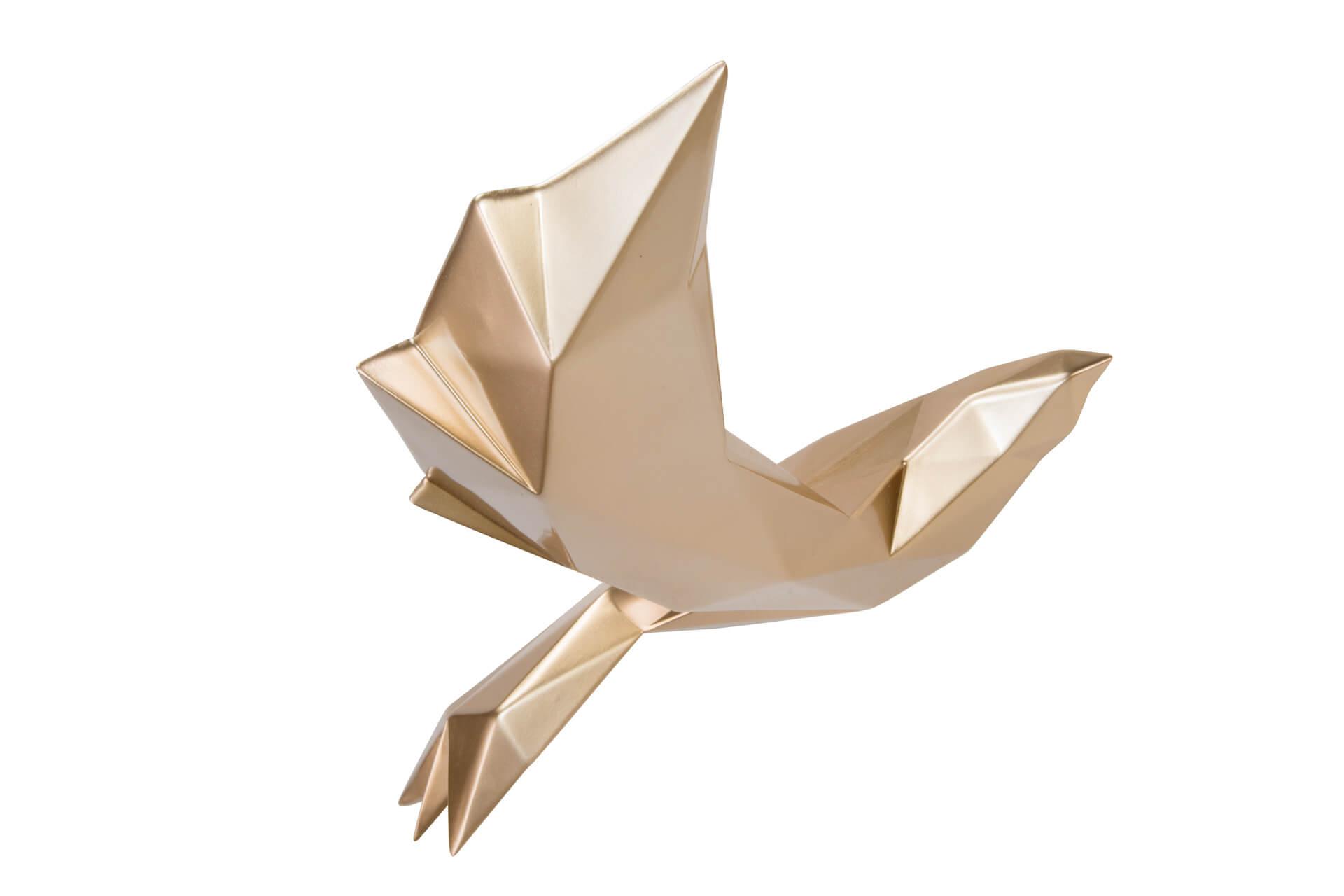 KL modern vogel deko gold skulptur statue aus stein figur plastik 01