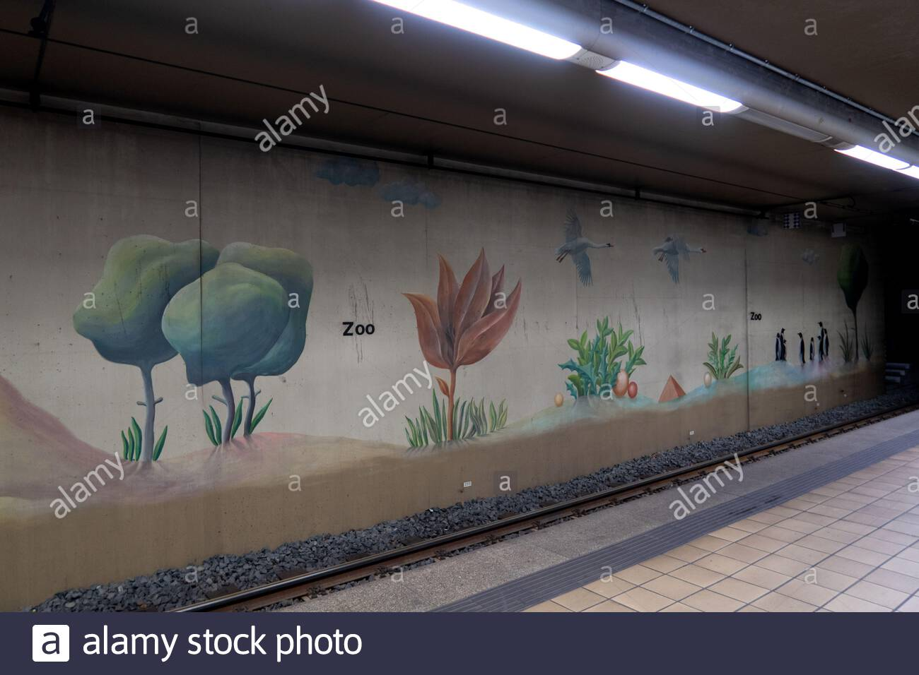 decorations and pictures at the metro station next to the zoo in frankfurt am main germany 2AJ8X36