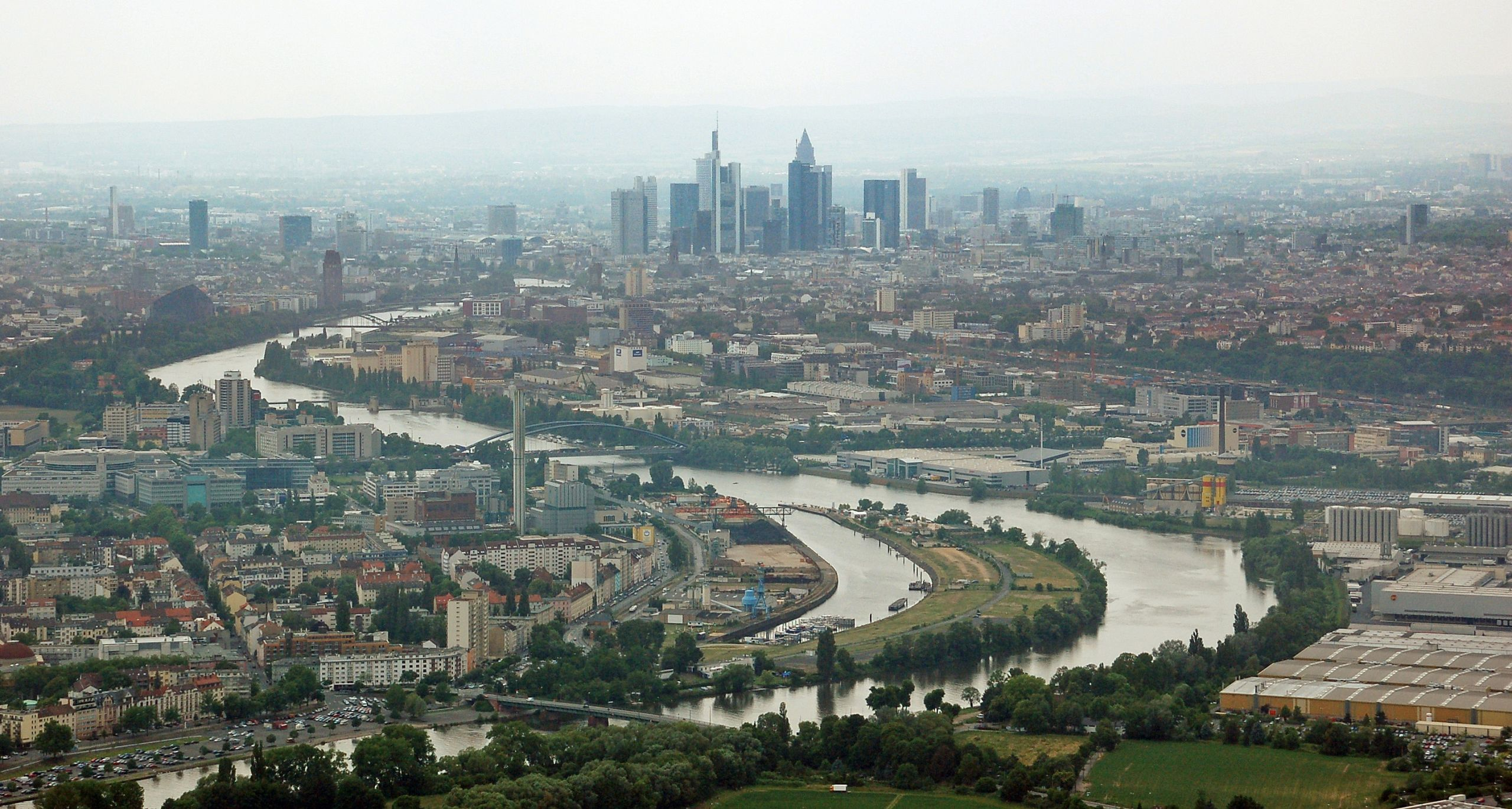 Main Luftbild fenbach & Frankfurt