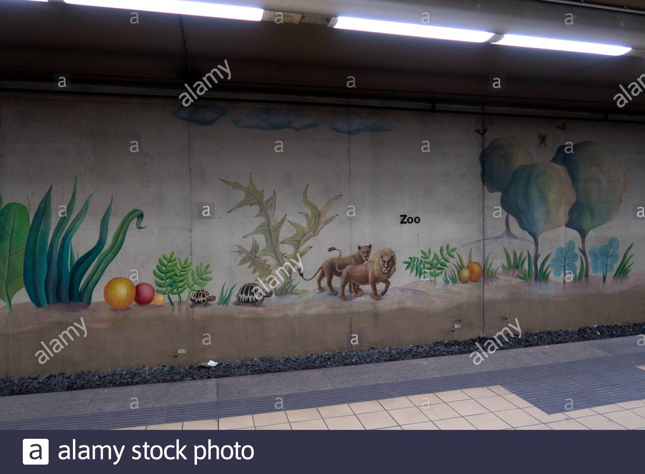 decorations and pictures at the metro station next to the zoo in frankfurt am main germany 2AJ8XBR