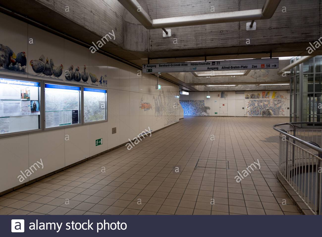 decorations and pictures at the metro station next to the zoo in frankfurt am main germany 2AJ8X8K