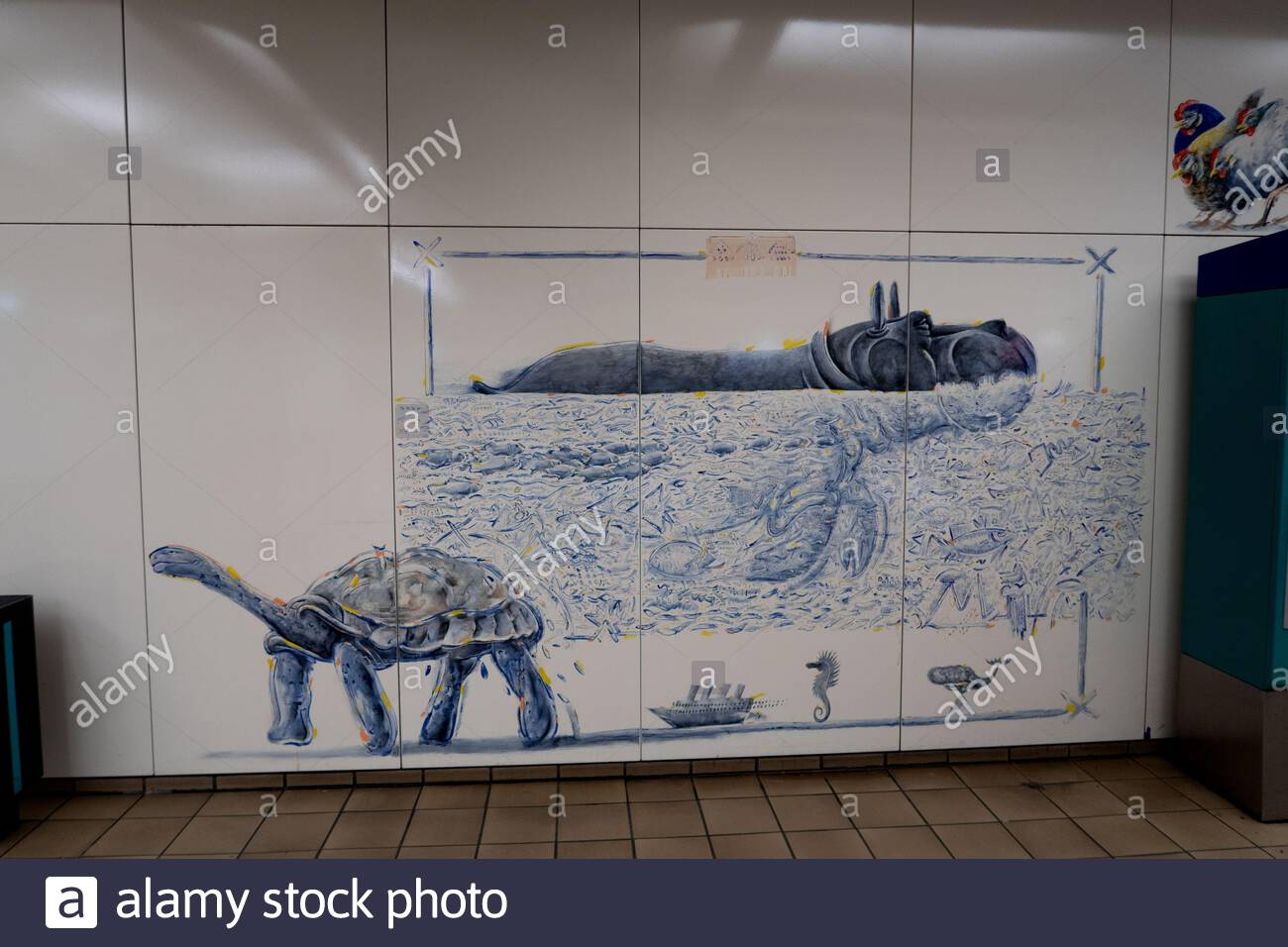 decorations and pictures at the metro station next to the zoo in frankfurt am main germany 2AJ8X80