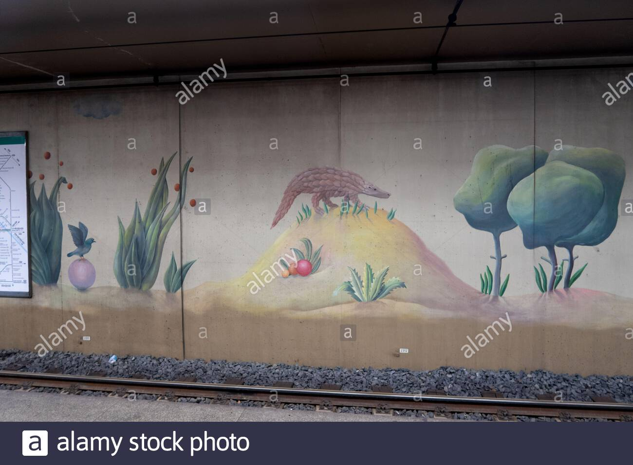 decorations and pictures at the metro station next to the zoo in frankfurt am main germany 2AJ8X59