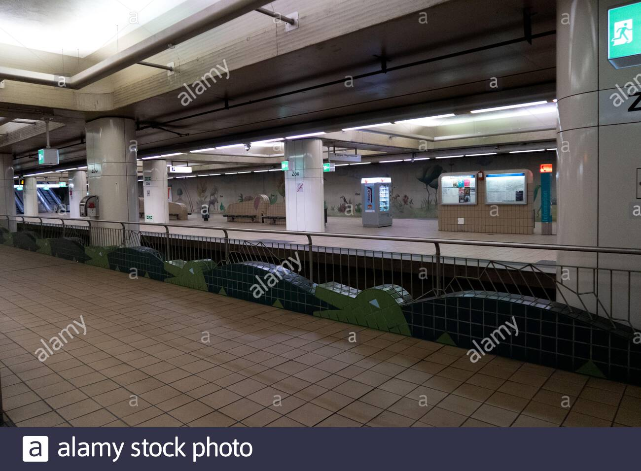 decorations and pictures at the metro station next to the zoo in frankfurt am main germany 2AJ8XBE