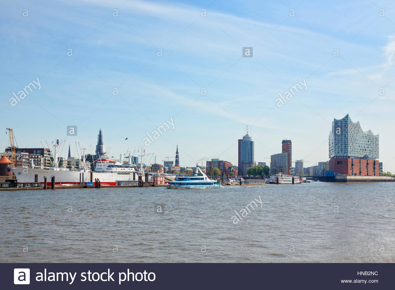 hamburg germany may 19 2016 waterfront from st pauli piers with museum HNB2NC