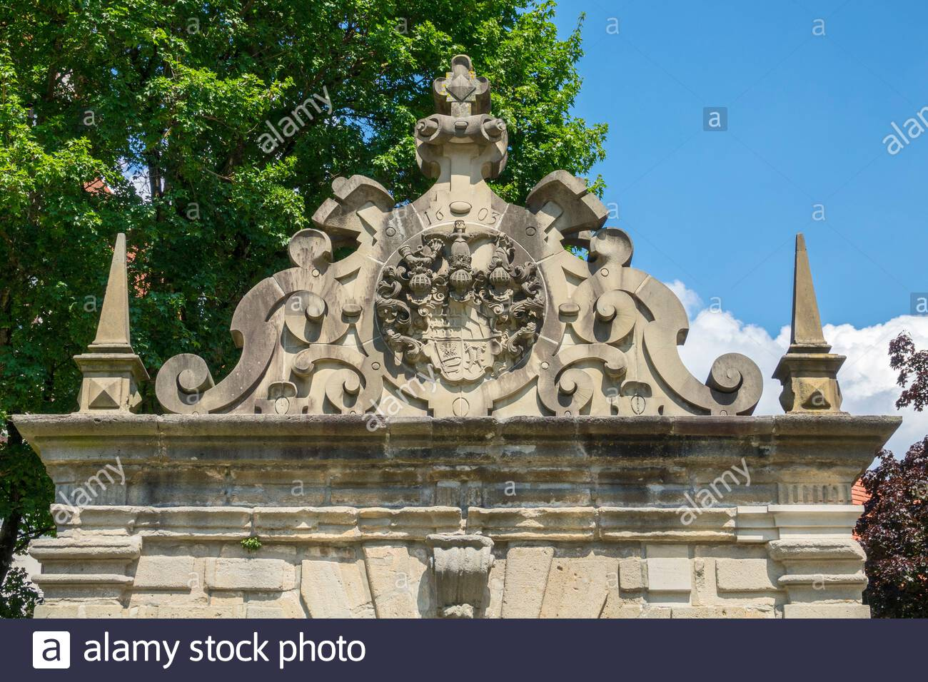 germany baden wrttemberg bad urach tiergartentor coat of arms wrttemberg dukes coat of arms built in 1603 as an entrance gate to the weavers suburb under duke friedrich i of wrttemberg used from 1771 as a gate to the ducal zoo demolished in 1963 renovated in 1992 and rebuilt next to the castle 2B4DXDK