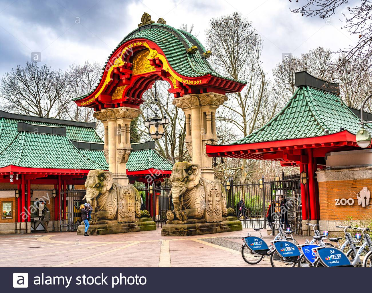 berlin germany february 21 2020 view to the famous elephant gate of the berlin zoological garden with its stone sculptures and the asian looking 2B11G22